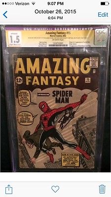 Amazing Fantasy 15 CGC 15 SoS Stan Lee Signed 1st Appearance Of SpiderMan