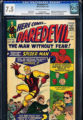 DAREDEVIL 1 CGC 75 Origin  1st App of Daredevil 1964
