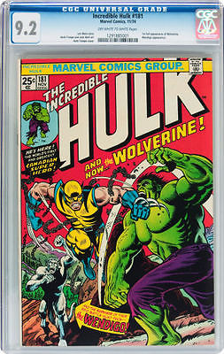 Hulk 181 CGC 92  OffWhite to White Pages  First Wolverine