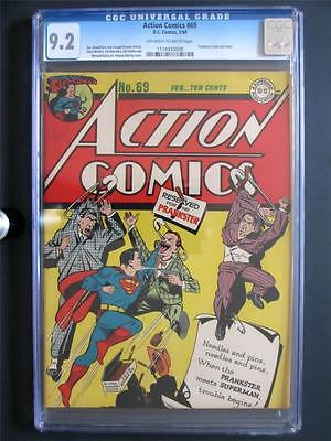 Action Comics 69 DC 1944 NEAR MINT CGC 92 NM Superman  2nd HIGHEST GRADE