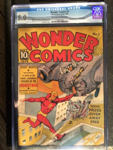 Comic Book Wonder comics 1 First Issue Wonder Man May 1939 CGC 50