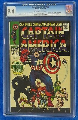 CAPTAIN AMERICA 100 CGC 94 OWW 1ST SOLO SA CAPTAIN AMERICA Signed Jack Kirby
