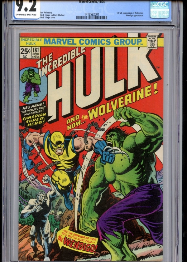 Incredible Hulk 181 CGC 92 1st Full Wolverine