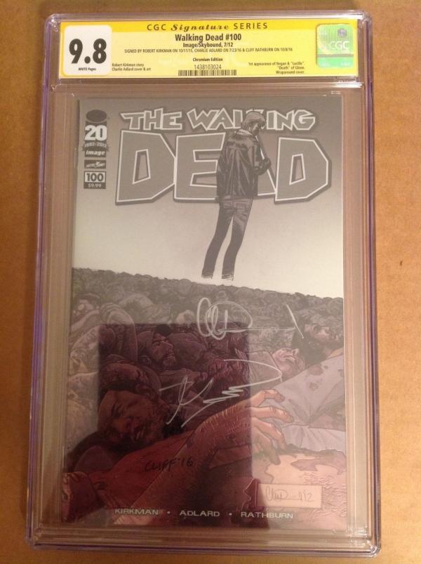 CGC SS 98 Walking Dead 100 variant signed Kirkman Adlard Rathburn 1st Negan
