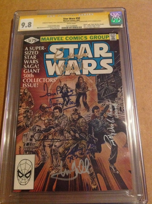 CGC SS 98 Star Wars 50 signed Hamill Fisher Daniels Baker Prowse Mayhew  one