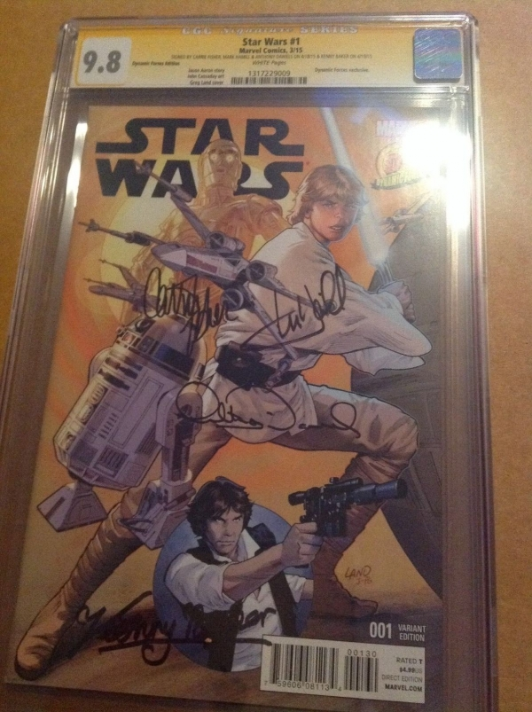 CGC SS 98 Star Wars 1 DF variant signed by Hamill Fisher Daniels  Baker