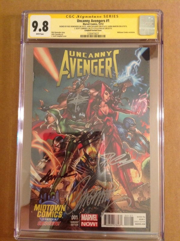 CGC SS 98 Uncanny Avengers 1 variant signed Lee Campbell Cassaday  2 others