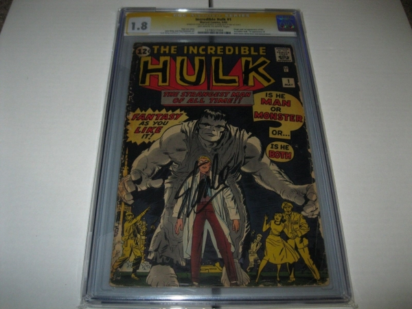 INCREDIBLEHULK 1 CGC 18 SS STAN LEE 1ST HULK GEN ROSS BETTY ROSS  RARE SIGNED