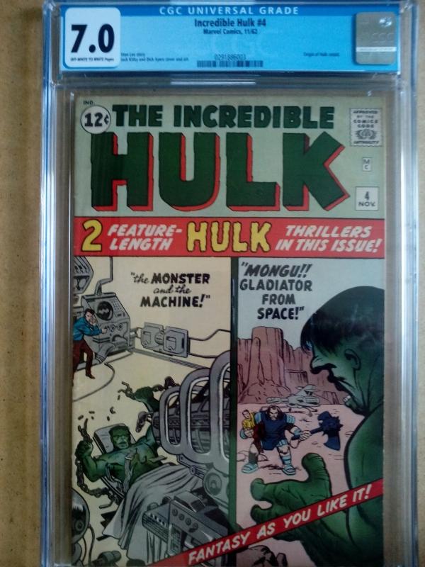 MARVEL COMICS THE INCREDIBLE HULK 4 NOVEMBER 1962 CGC 70