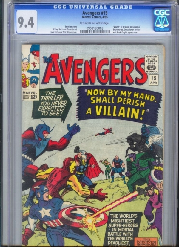 Avengers 15  Death of Baron Zemo  OWW  CGC 94 NO RESERVE