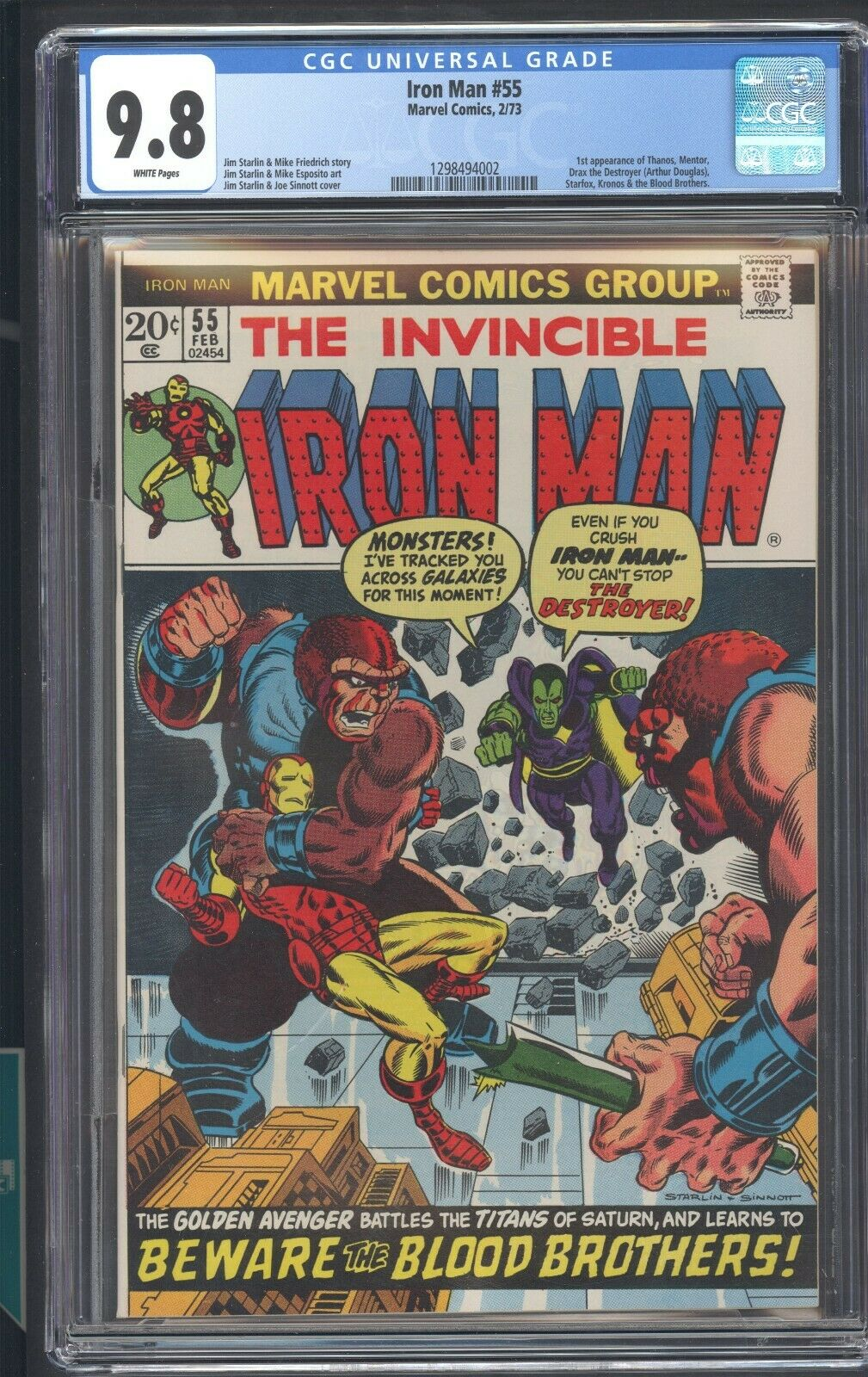 Iron Man 55 CGC 98 White Pages 1ST App Of Thanos Mentor Drax Starfox Kronos