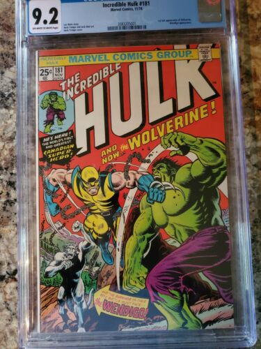 The Incredible Hulk 181 CGC 92 NM near mint 1st WOLVERINE Marvel 2083205001