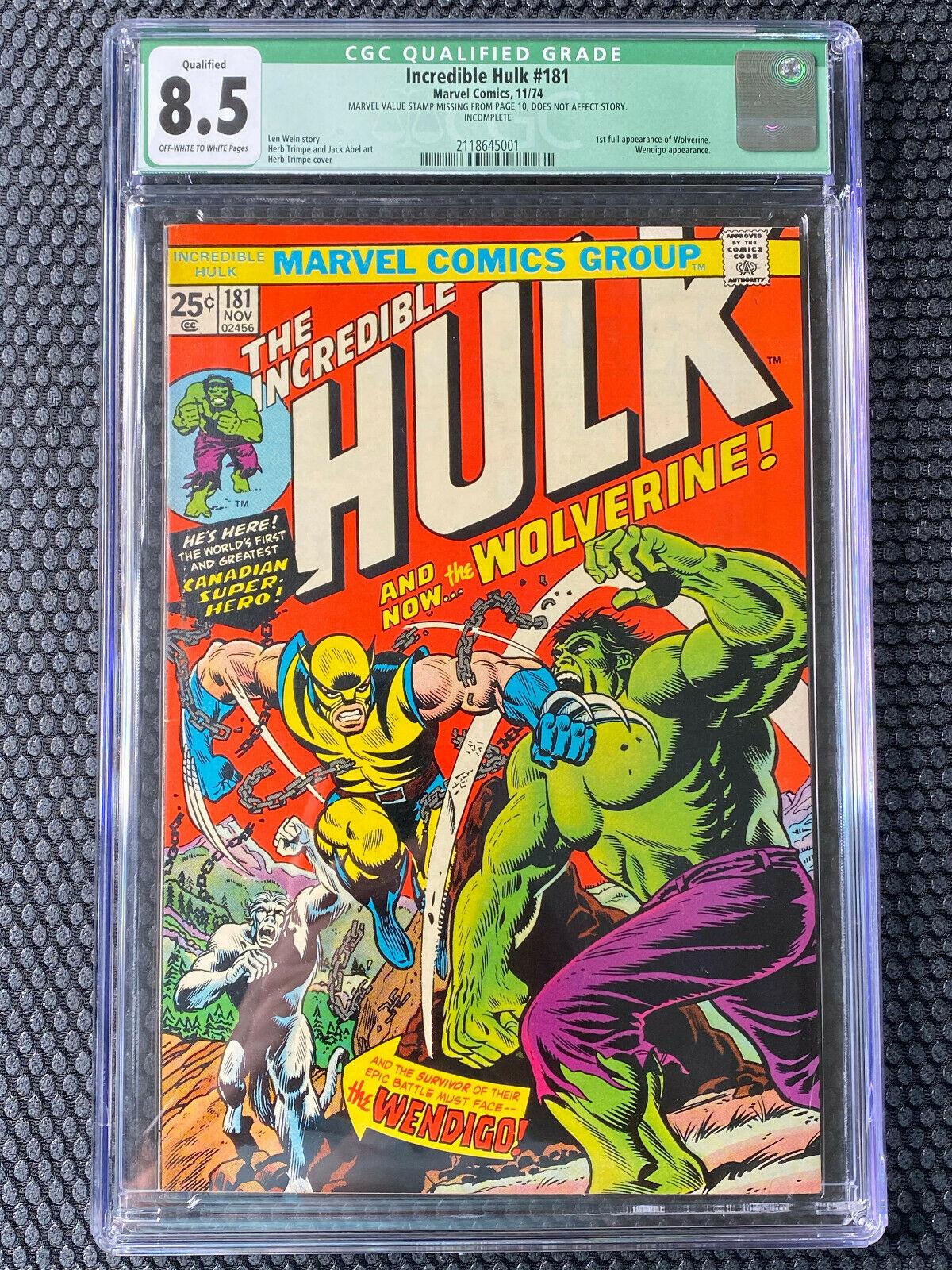 INCREDIBLE HULK 181 Marvel Comics 1974 CGC 85 WOLVERINE 1st Full Appearance