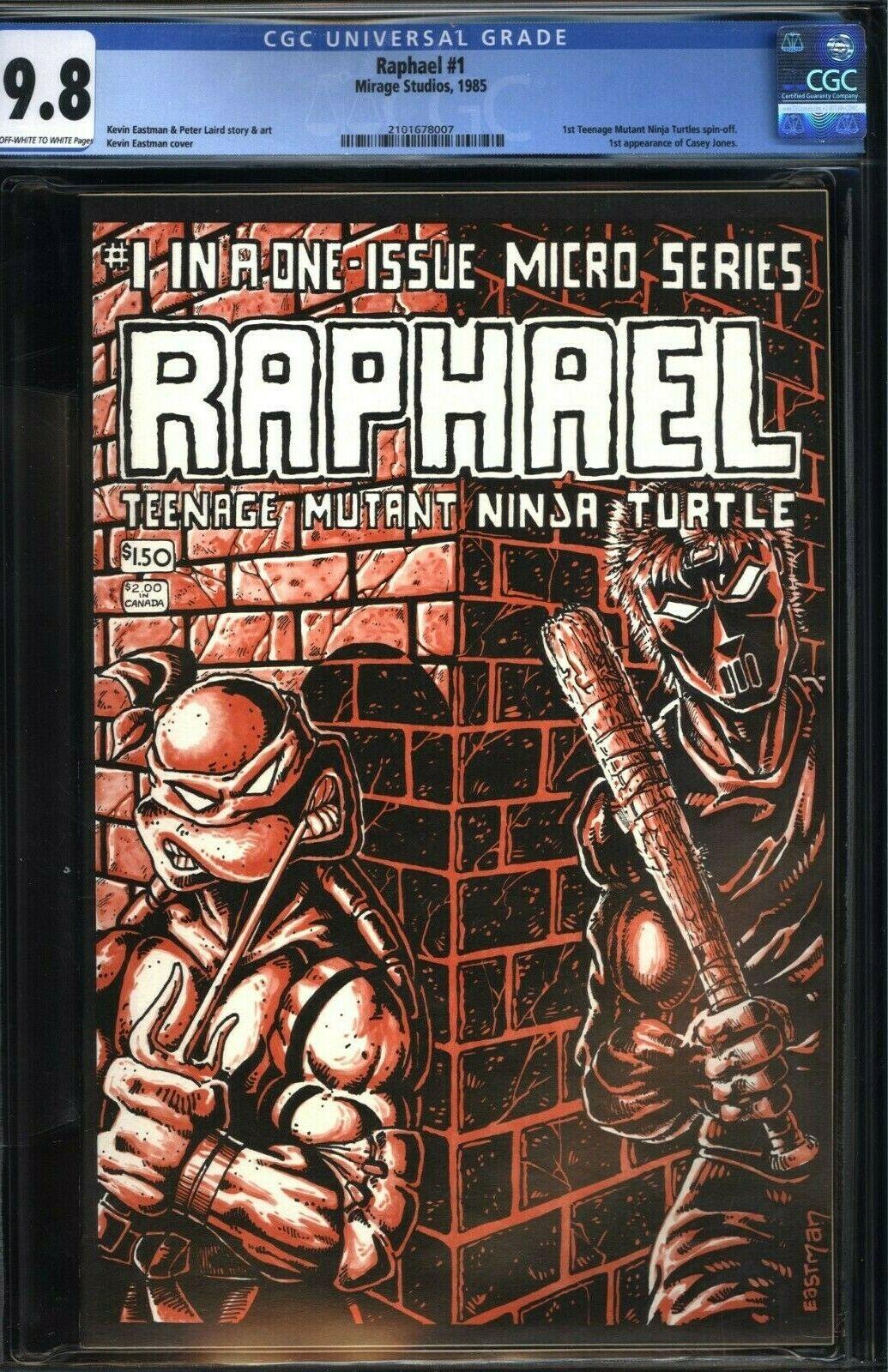 Raphael 1  CGC 98 OWW NMMT  Mirage Studious 1985  1st appearance CASEY JONES