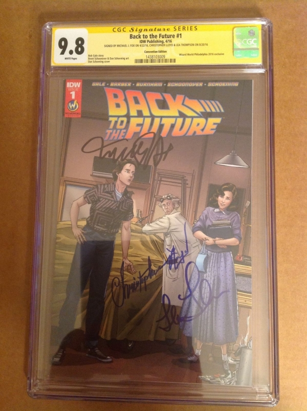 CGC 98 SS Back to the Future 1 Variant signed by Fox Lloyd  Thompson