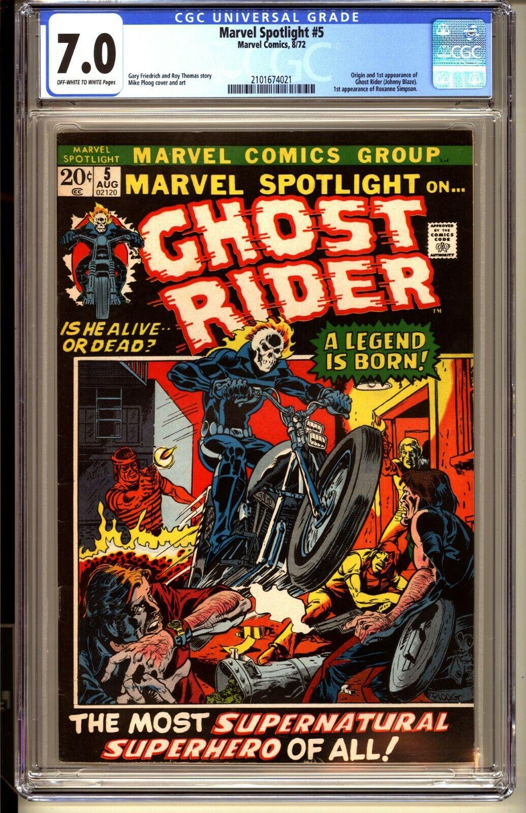 MARVEL SPOTLIGHT 5  CGC 70 OWW FNVF  Marvel Comics 1972  1st app GHOST RIDER