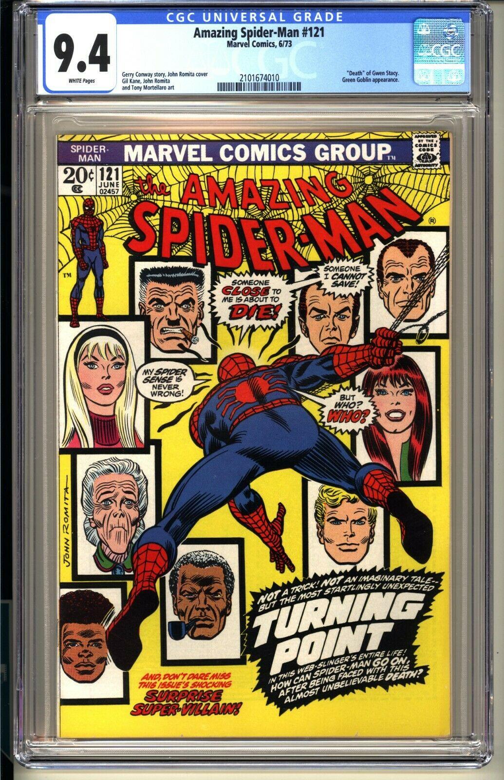 AMAZING SPIDERMAN 121  CGC 94 WP NM  Marvel Comics 1973  Death Gwen Stacy