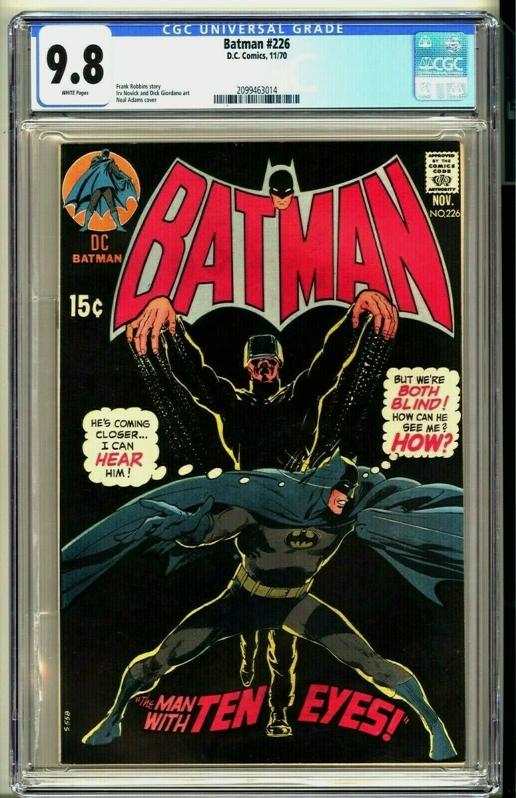 BATMAN 226  CGC 98 WP NMMT  DC Comics 1970  Neal Adams  Top CGC Census Bronze