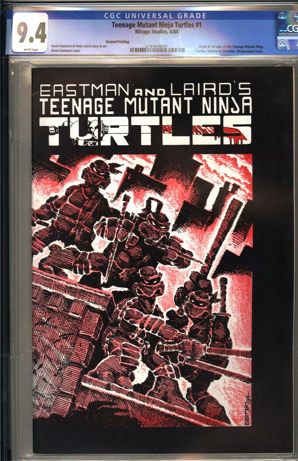 TEENAGE MUTANT NINJA TURTLES 1  CGC 94 WP NM Mirage 1984 2nd PRINT TMNT
