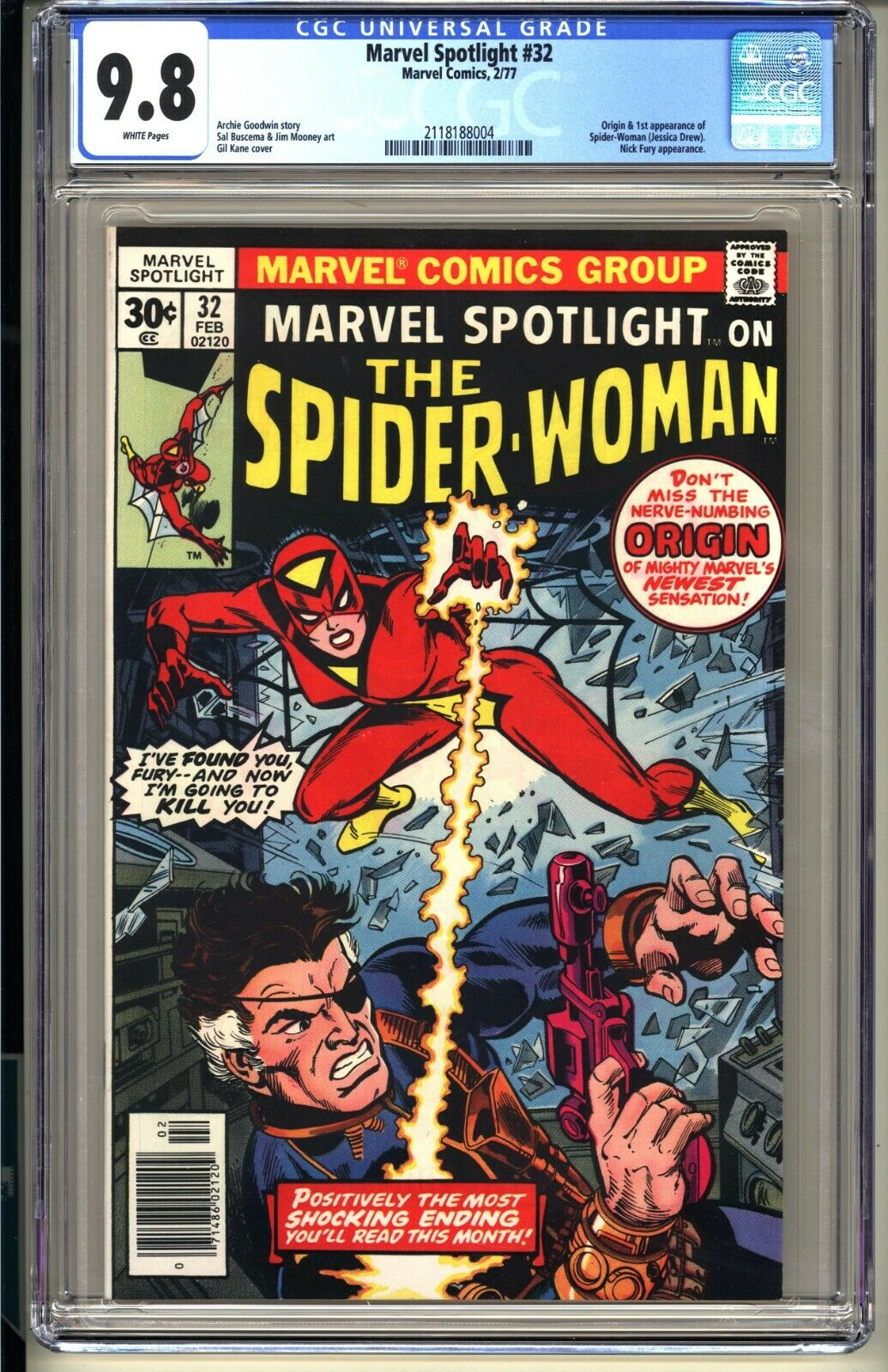 MARVEL SPOTLIGHT 32  CGC 98 WP NMMT  Marvel Comics 1977 1st app SpiderWoman