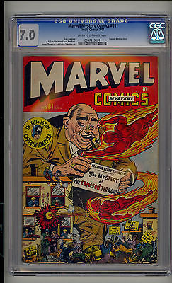 Marvel Mystery 81 CGC 70 FNVF Human Torch Toro Captain America CROW Pages