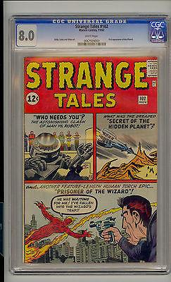 Strange Tales 102 CGC 80 VF Unrestored Marvel Fantastic Four 1st Wizard WHITE