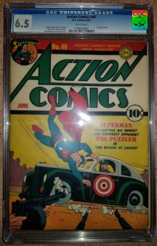 ACTION COMICS 49 CGC F 65 DC 1938 SERIES WHITE 1ST APPEARANCE THE PUZZLER