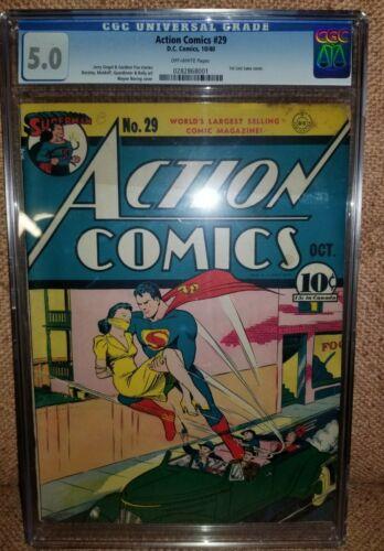 ACTION COMICS 29 CGC VGF 50 DC 1938 SERIES 1ST LOIS LANE COVER