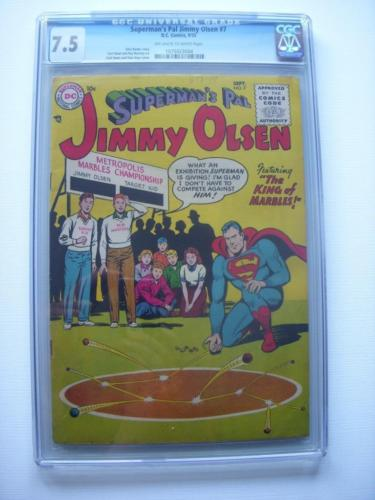 SUPERMANS PAL JIMMY OLSEN 7 CGC VF 75  OWWP UNIVERSAL GRADE 2ND HIGH DC 1955
