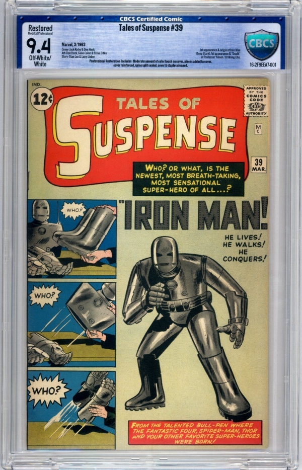 Tales of Suspense 39 CBCS 94 Moderate Professional OWW 1963 Key Not CGC PGX