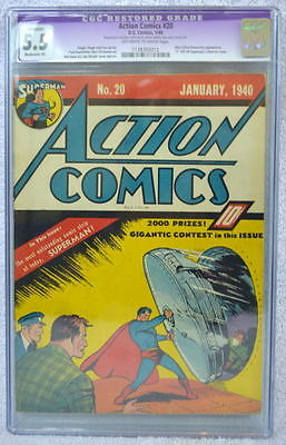 ACTION COMICS 20 CGC 55 No S SUPERMAN Chest 1939 UltraHumanite Daily Star