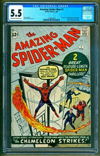 Amazing SpiderMan 1 1963 Marvel 1st appearance Chameleon JJ Jameson CGC 55