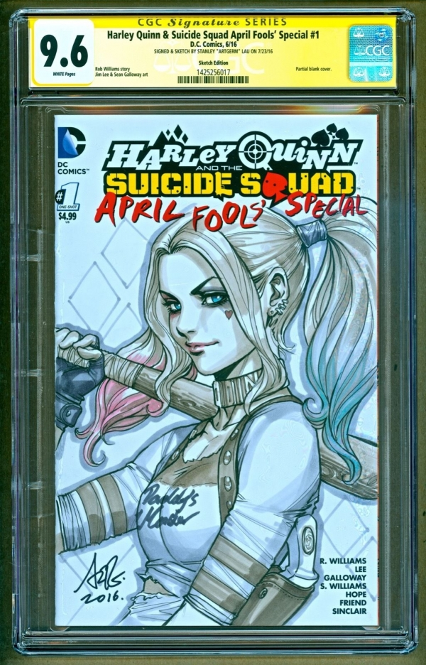 Harley Quinn  Suicide Squad 1 DC Sketch Signed Stanley Artgerm Lau SS CGC 96