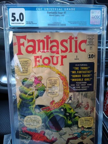 1961 First Appearance Marvel Fantastic Four 1 CGC Grade 50 Stan LeeJack Kirby