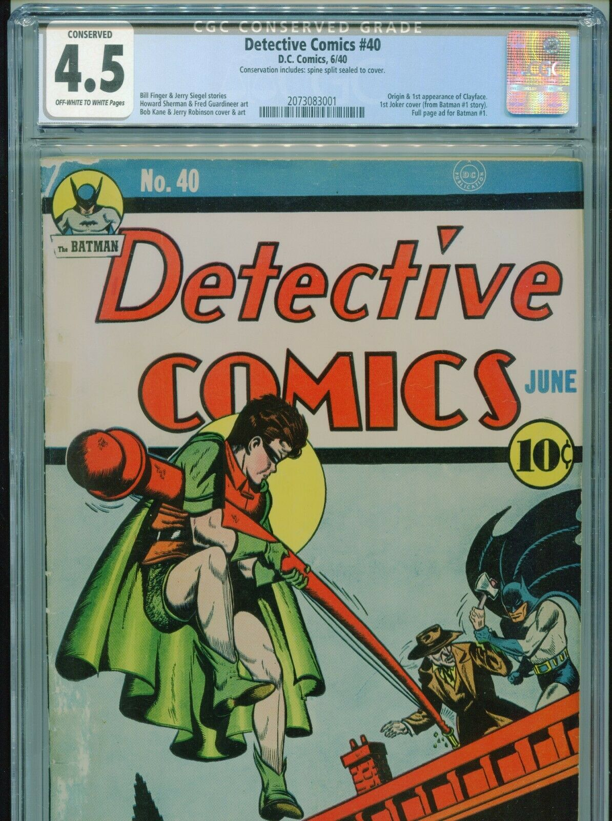1940 DC DETECTIVE COMICS 40 1ST APPEARANCE CLAYFACE 1ST JOKER COVER CGC 45 OWW