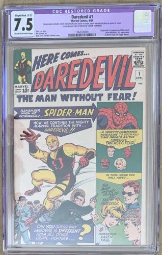 Daredevil 1 1964 Series 1 1st Appearance CGC Restored Grade 75 Marvel Comic