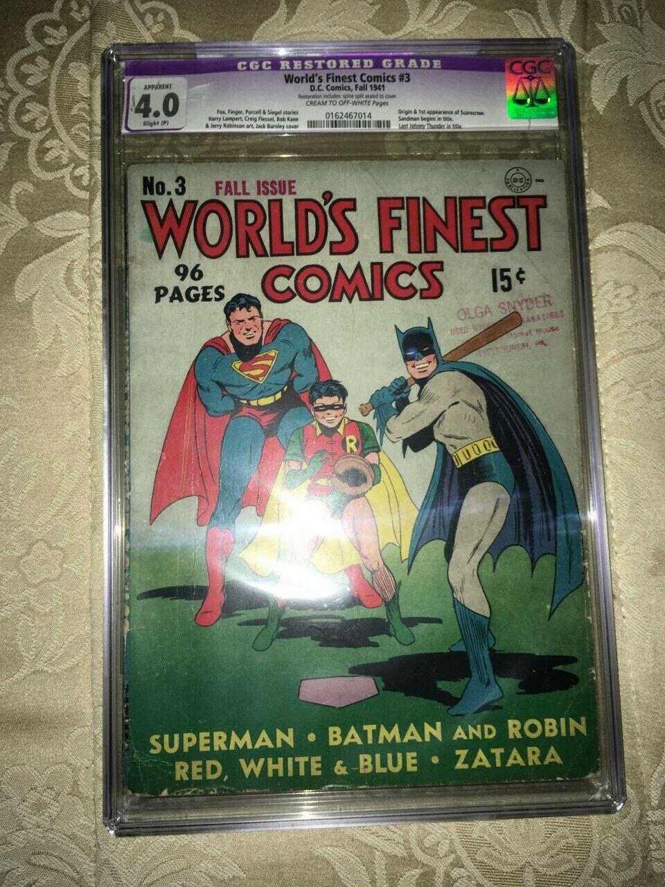 Worlds Finest Comics 3 CGC Restored Grade 40 DC Comics Fall 1941
