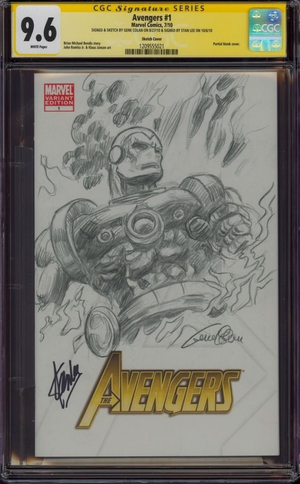AVENGERS 1 CGC 96 2X SS GENE COLAN SKETCH ART IRON MAN SIGNED BY STAN LEE MINT