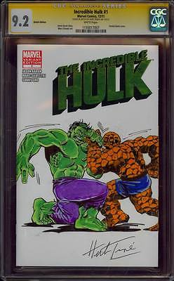 HULK 1 CGC 92 SS HERB TRIMPE HULK VS THE THING COLORED COVER SWIPE SKETCH ART