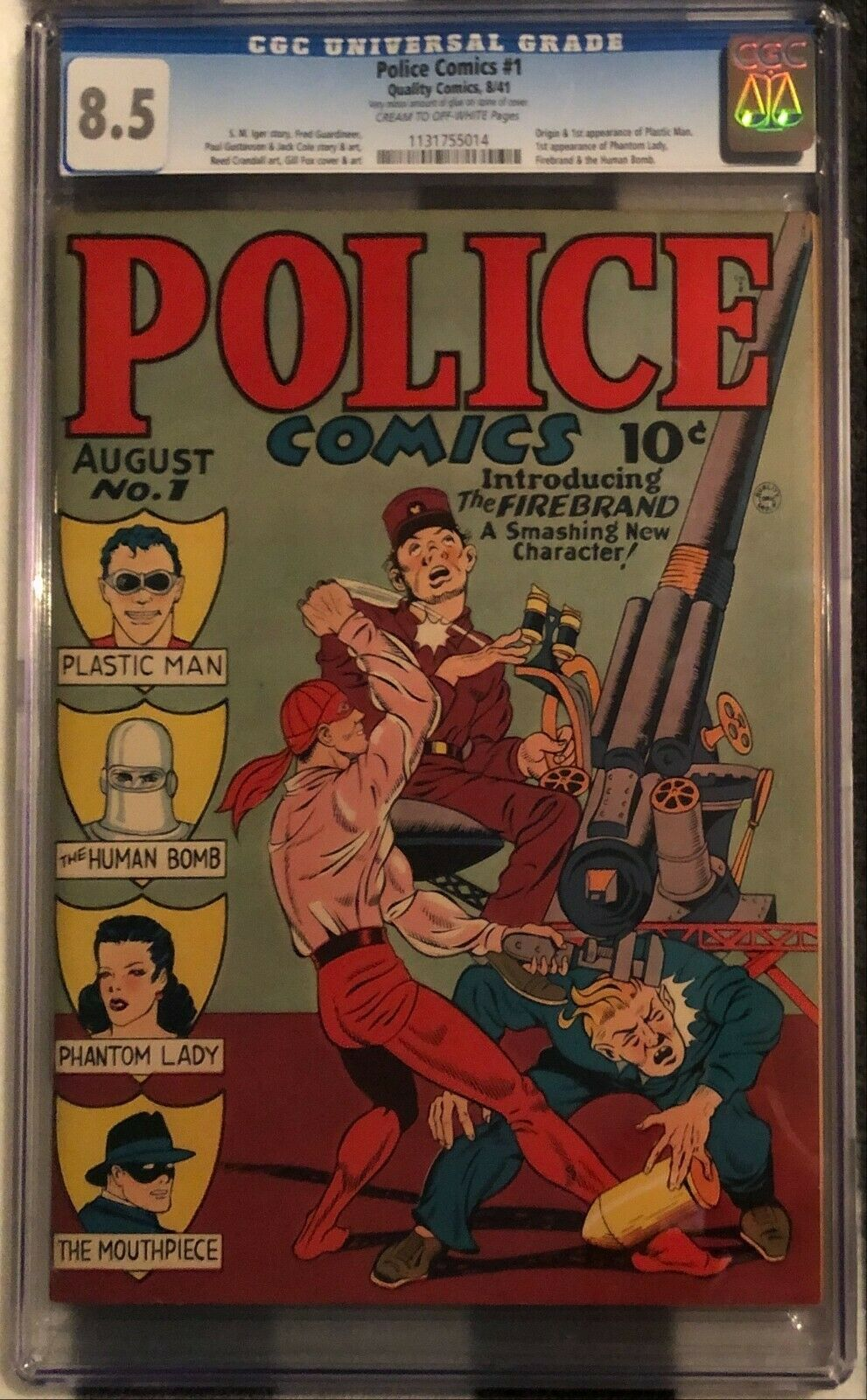 Police Comics 1 1941 CGC 85 CROW Pages  1st Appearance of Plastic Man