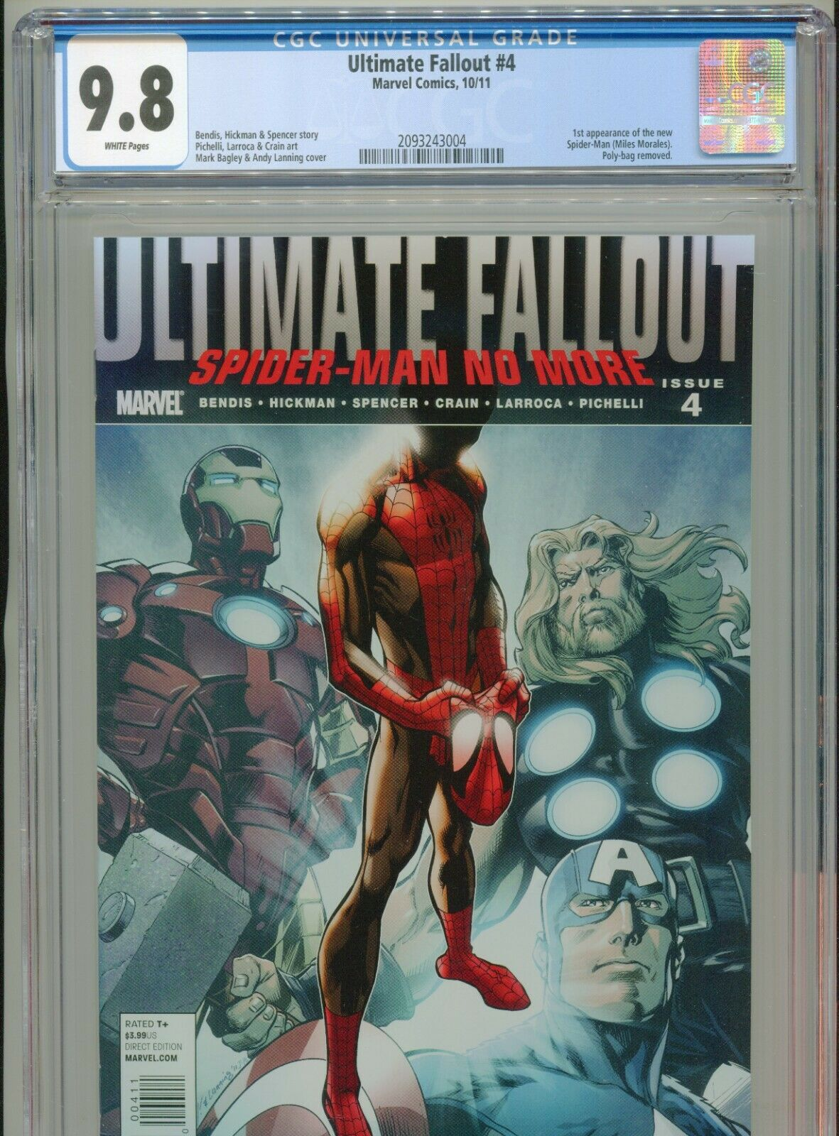 2011 MARVEL ULTIMATE FALLOUT 4 1ST APPEARANCE MILES MORALES CGC 98 WHITE
