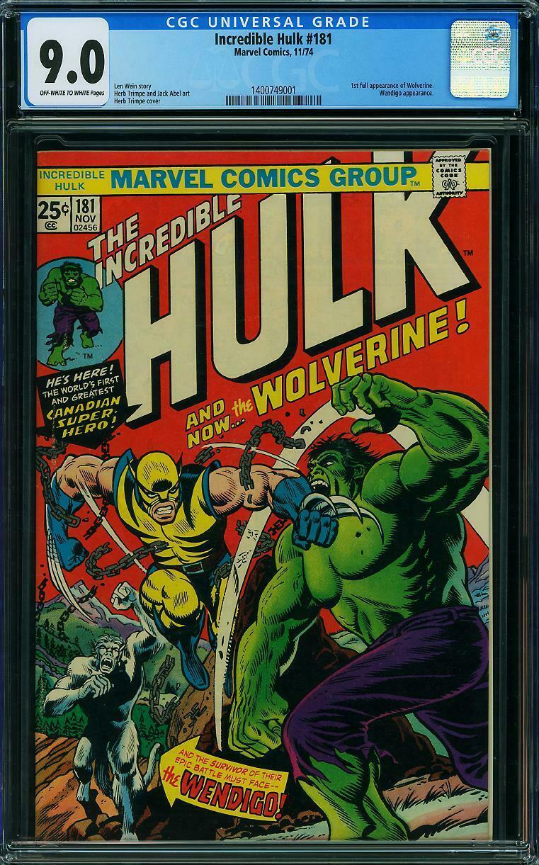 HULK 181 CGC 90 1st Wolverine  XMen OW  W Pages