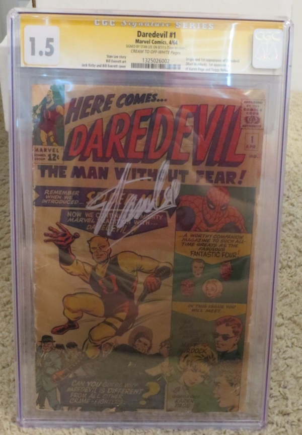 Marvel Comics Daredevil 1 1964 Signed By Stan Lee CGC 15 Signature Series