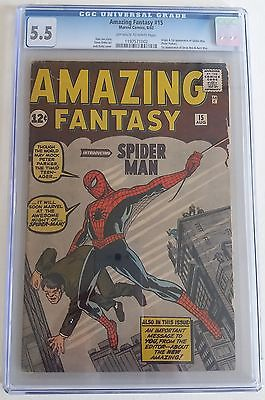 AMAZING FANTASY  15  CGC 55    1197571002    1st SpiderMan  OW to W Pages