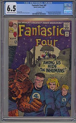 FANTASTIC FOUR 45 CGC 65 OFFWHITE PAGES 1ST INHUMANS BLACK BOLT DC