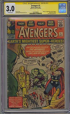 AVENGERS 1 CGC 30 SS  SIGNED STAN LEE OFFWHITE PAGES MARVEL