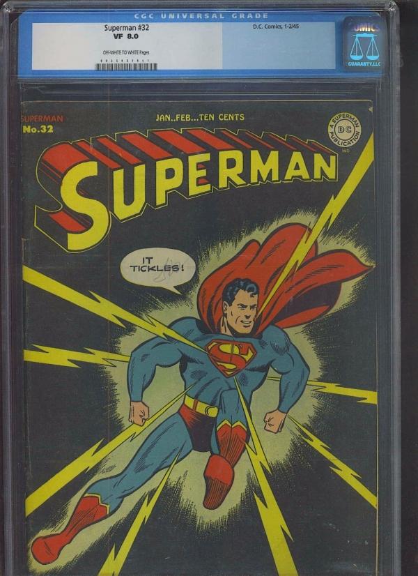 SUPERMAN 32 CGC VF 80 OWW classic It Tickles lightning cover