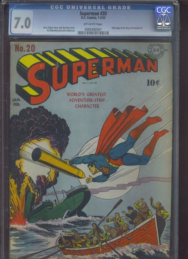 SUPERMAN 20 CGC FNVF 70 OW WWII cover