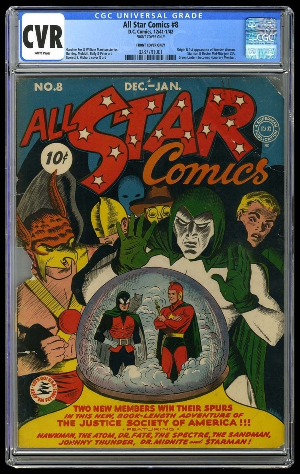 All Star Comics 8 Vol 1 CGC CVR Front Cover Unrestored 1st Wonder Woman 1942