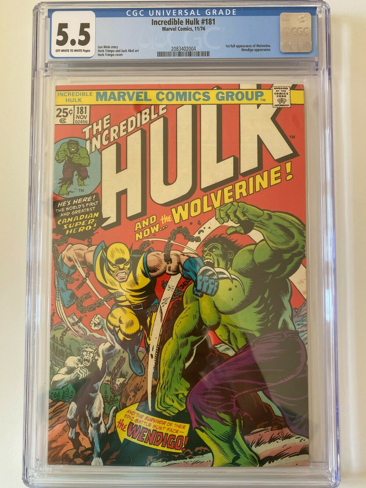 The Incredible Hulk 181 CGC 55 First Appearance of Wolverine 111974